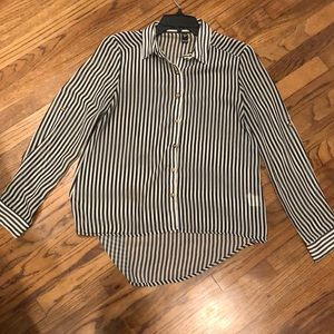 Windsor Black White Stripe High Low Button Blouse